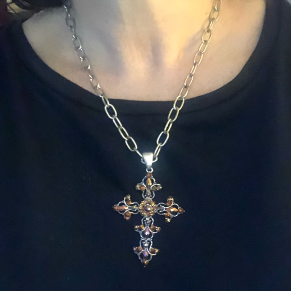 Jewelry - Silver Metal and Amber Cross Necklace